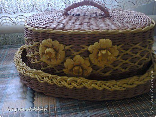 Поделка изделие Плетение мои хлебницы Бумага газетная Бусины Трубочки бумажные фото 3