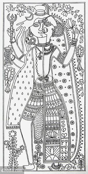 Indian painting styles madhubani mithila painting bihar ardhanareshwar