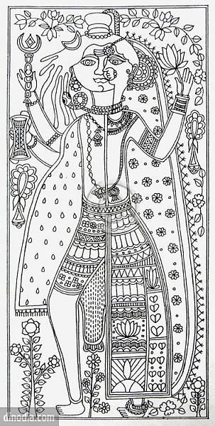 Indian Painting Styles...Madhubani/Mithila  Painting (Bihar)-ardhanareshwar.jpg