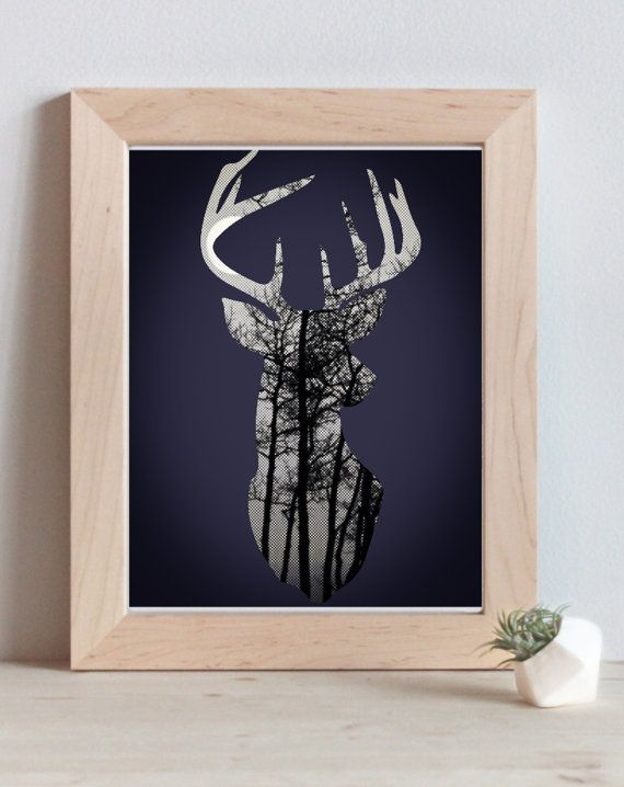 Deer Head w/ Antlers Silhouette // Black and White Trees & Nature // Forest, Woodlands, Wildlife // Home Decor // Poster Print by Clarafornia, $20.00