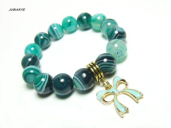 AGATE EMERALD GREEN Stretch Bracelet Gemstone Bracelet by JUBIARTE