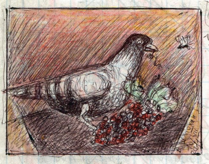 "Victor Shmokhin. Голубь у виноградной грозди"" 2011г. Бумага /акварель шариковая ручка. 4,3х6,3 (№4,032)"
