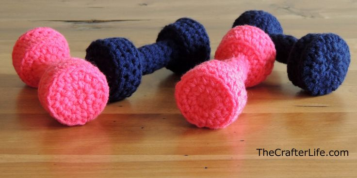 Crochet dumbbells for play for toddlers or to use as photo props for newborns with the birth weight stitched on the ends