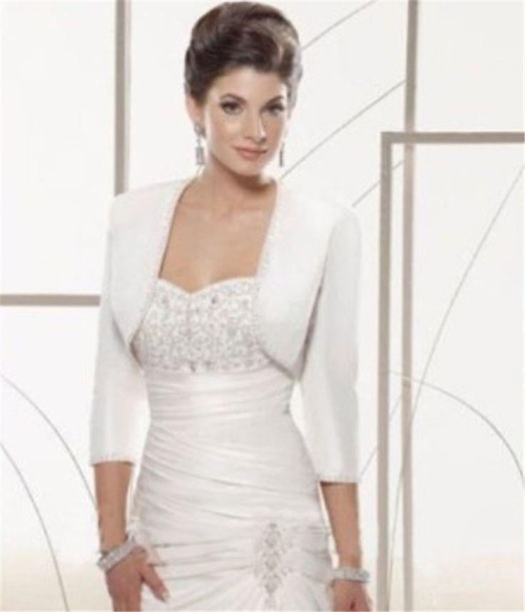 >> Click to Buy << Winter Autumn Boleros Jackets Wedding Satin White Shawl for Wedding Dress Long Sleeves Bridal Boleros Cape Wedding Wraps Custom #Affiliate