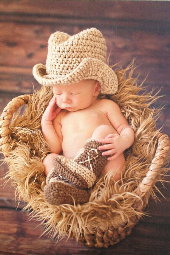Newborn 0-3 Month Hand Crocheted Baby Newborn Cowboy Cowgirl Hat Boots Diaper Cover**Made to your order**