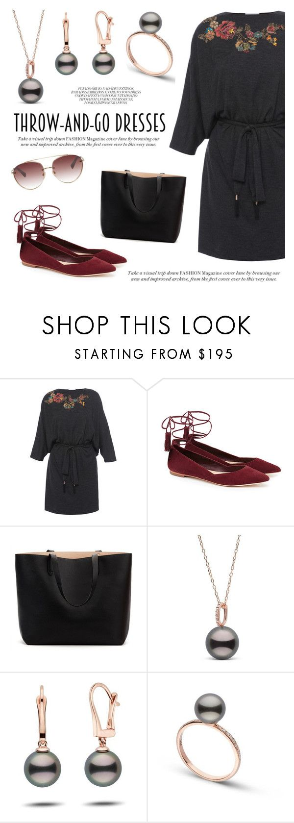 """""""Easy Peasy: Throw-and-Go Dresses"""" by pearlparadise ❤ liked on Polyvore featuring Megan Park, Loeffler Randall, Valentino, contestentry, pearljewelry, pearlparadise and easydresses"""