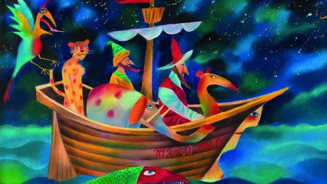 """Pastel """"Marco Polo na cestách"""" z roku 2001  Výstava Adolf Born:  Výstava v Museu Kampa potrvá do 30. července. Od 5. května ji doplní reliéfy a struktury konceptualisty 60. a 70 let Tomase Rajlicha."""