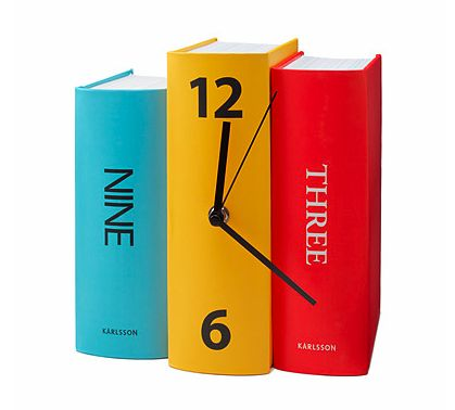 11 Book-Inspired Home Decor Ideas - Keeping time in any room (but especially perfect for an office), the Book Clock ($24) is a fun and affordable accessory to brighten up your decor while displaying your love of reading. Or, camouflage it within your bookshelf in between rows of actual books for a whimsical feel.
