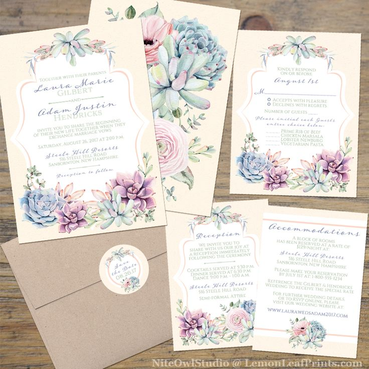 Pastel Wedding Invitation   Watercolor Succulents Garden   Peach, Ivory, Green, Lavender