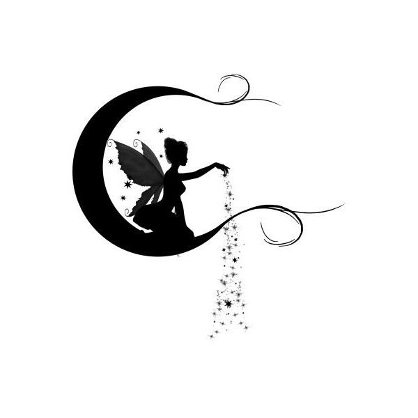 Fairy Duster Tattoo - $12.00 : Fairy Silhouette Art by Julie Fain,... ❤ liked on Polyvore