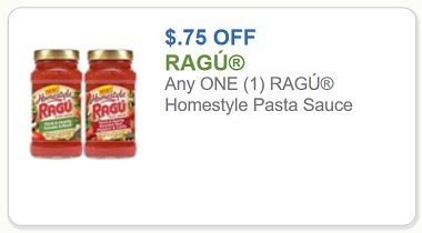 Ragu Coupon – $0.75 off any one Ragu Homestyle Pasta Sauce