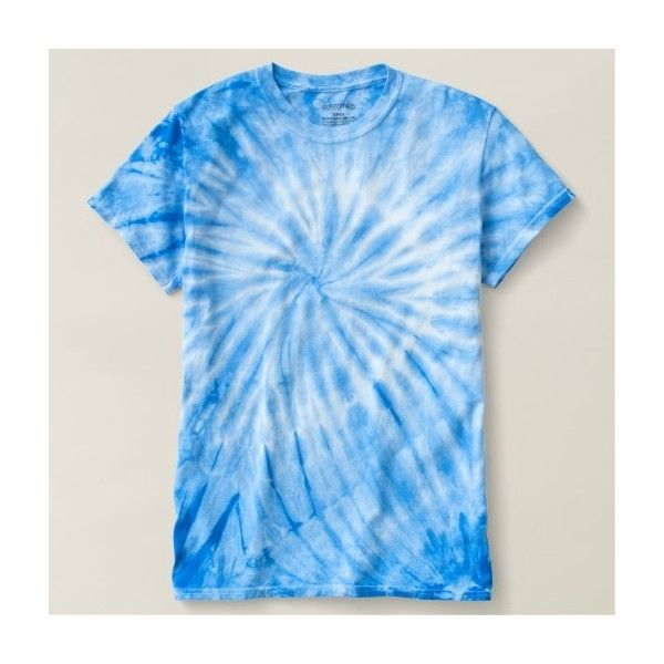 Blue Cyclone Tie-Dye T-Shirt ($32) ❤ liked on Polyvore featuring tops, t-shirts, blue t shirt, blue top, tie dyed tops, tie dye tops and tie dye t shirts