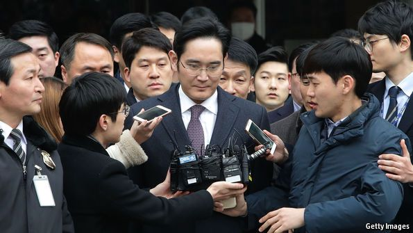 "IN ONE of the many interrogations Lee Jae-yong has undergone in connection with a presidential influence-peddling scandal, he said that he would surrender management control of Samsung, the South Korean electronics giant that he is running on behalf of his incapacitated father, Lee Kun-hee, ""if there is anyone better than me"". He may now be forced to do so. On February 17th Mr Lee was arrested on suspicion of bribery, embezzlement, perjury, moving assets abroad illegally"