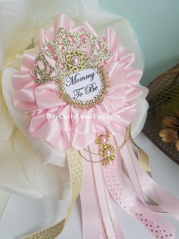 Princess Baby Shower Mommy To Be Corsage Pink And Gold Baby
