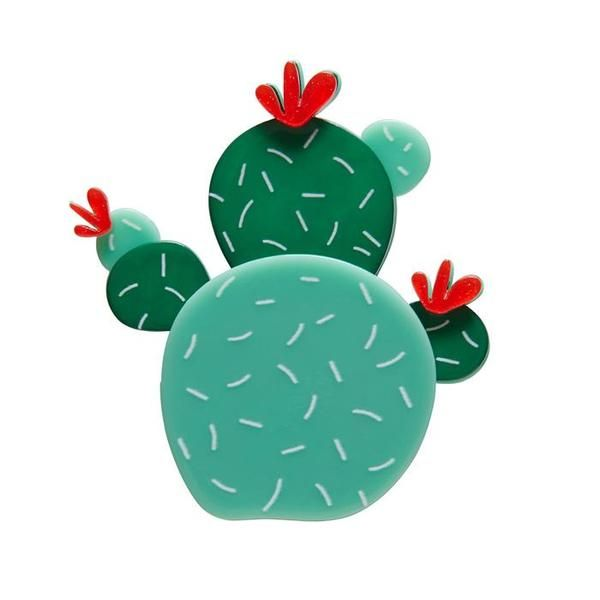 """Erstwilder Collectible Cuddly Cactus Brooch. A hug from a cactus? Doesn't sound very appealing! It's okay, the only spine here is the one that connects me to your garments."""""""