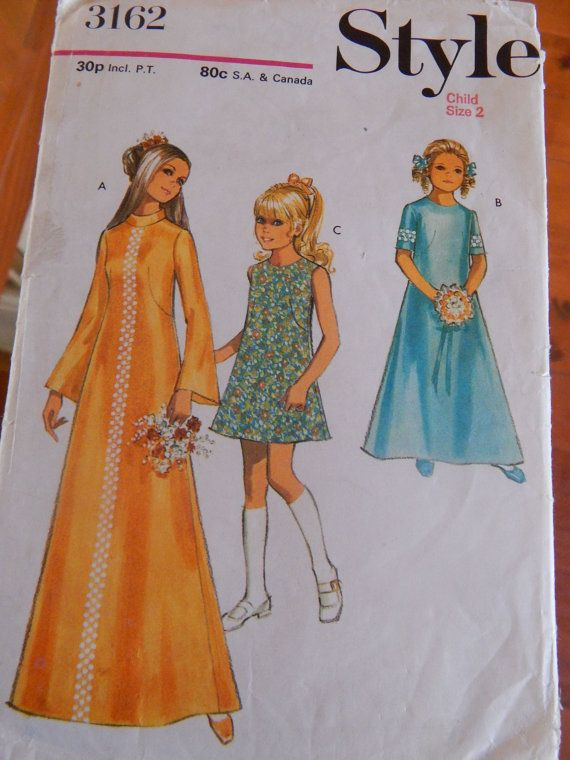 1970s Girl's A-Line Dress or Maxi Dress Style