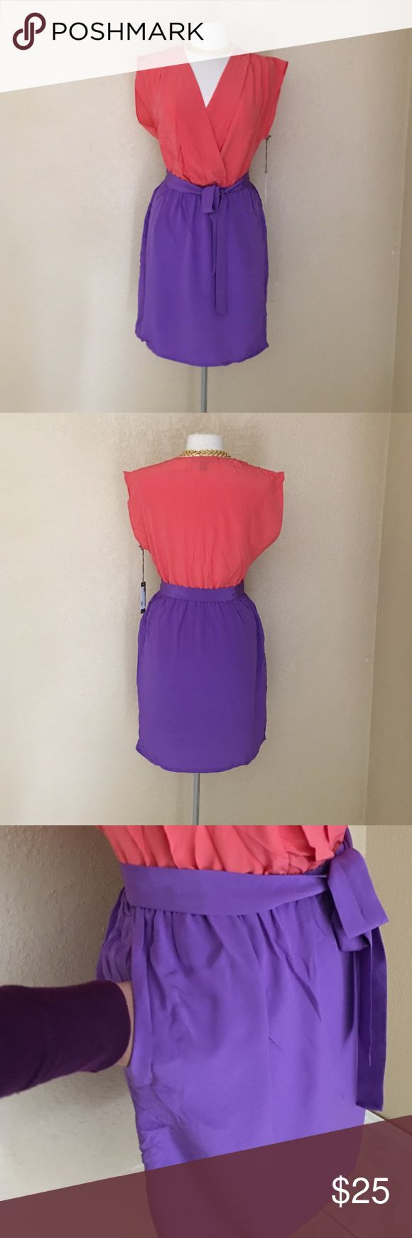 "Charlie Jade 100%silk dress Colorblock Dress by Charlie with a sorbet top and soft lavender skirt. Pleating detail along shoulder seam. Self fabric waist belt with side seam loops. Pockets at front. Approx. length from shoulder to hem: 37 1/2"".  100% Silk. Charlie Jade Dresses"