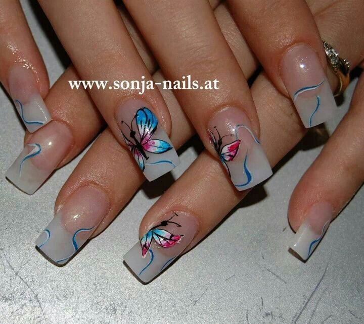 Butterflies nail art...