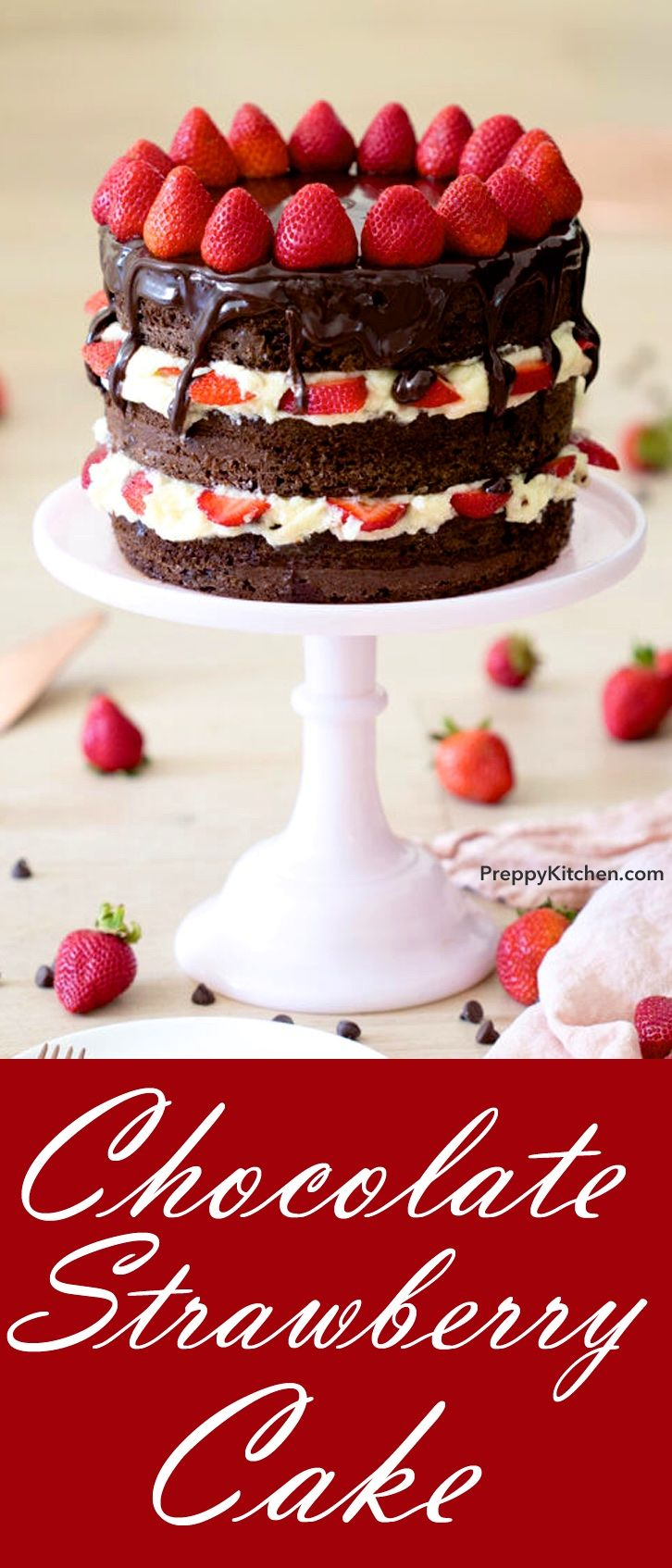 Chocolate Strawberry Cake topped with a chocolate drip.  This is a delicious Cake for any occasion. By preppykitchen.com