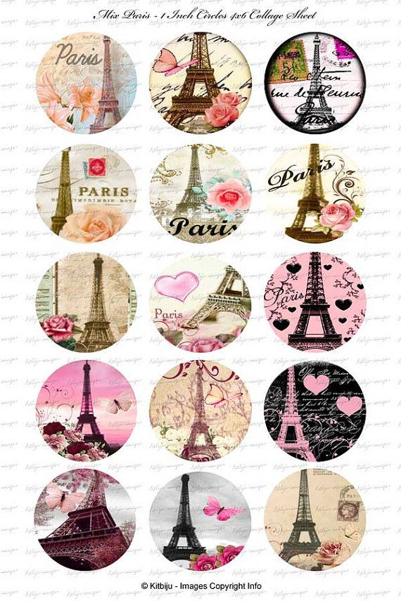 Collage of pretty Eiffel tower illustrations in circles