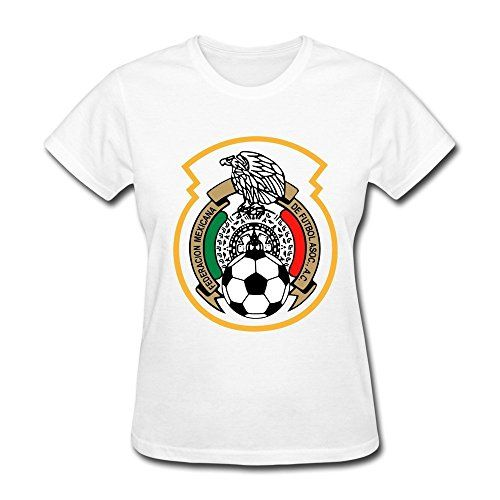 Women's Mexico National Football Team Logo O-neck T-shirt Size M White >>> Read more  at the image link.