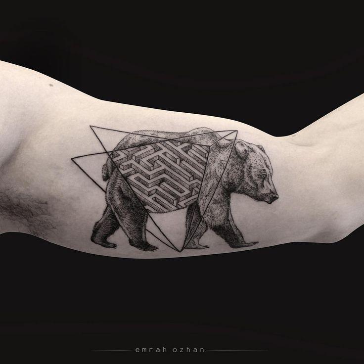 black bear with geometric tattoo idea