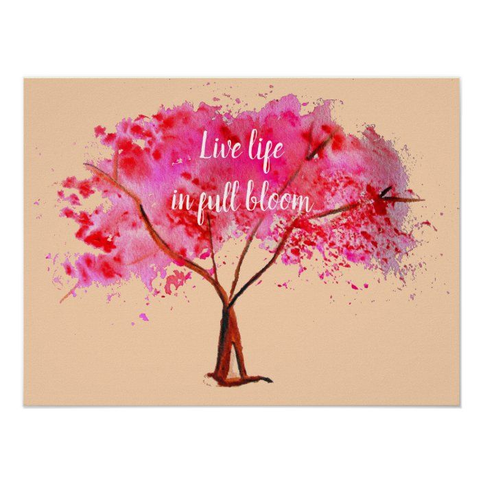Live Life In Full Bloom Quote Pink Cherry Blossom Poster Zazzle Com In 2021 Bloom Quotes Blossom Quotes Cherry Blossom Quotes