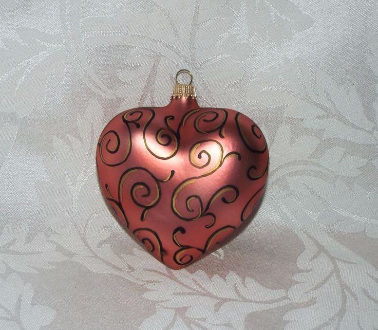 """FROSTED GLASS PINK HEART ORNAMENT, Vintage Germany Ks Black Gold Swirl Swan 3.5"""""""
