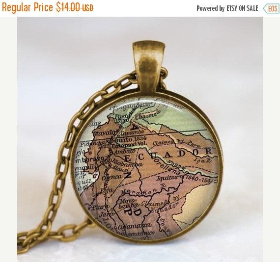 This is a beautiful Ecuador vintage map necklace.    Map pendants are a beautiful souvenir to remember special places you live in, you visited