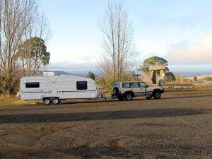 The new rig at Stonehenge, NSW, when returning to the Victorian goldfields from a brief stay in Brisbane, QLD