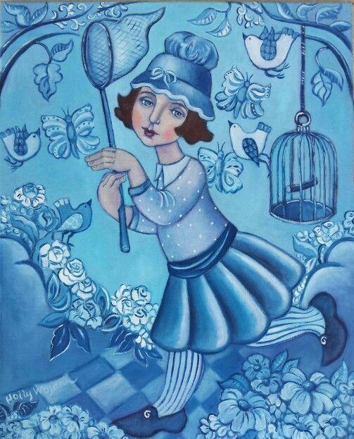 Girl in Bleu; chasing Butterflies