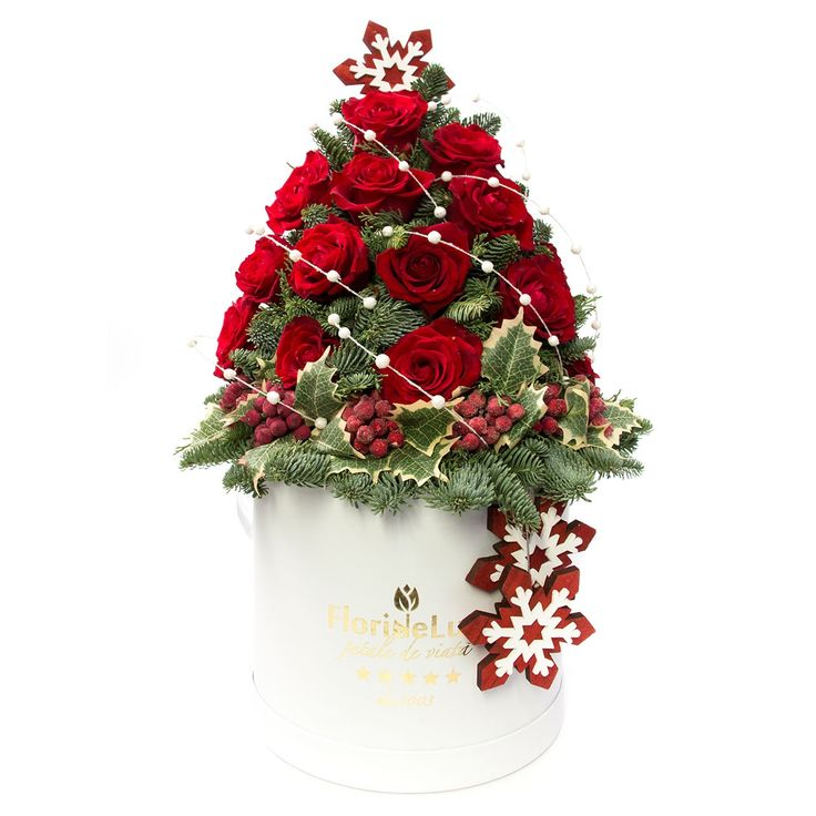 Brad de Craciun din trandafiri rosii  https://www.floridelux.ro/brad-de-craciun-din-trandafiri.html