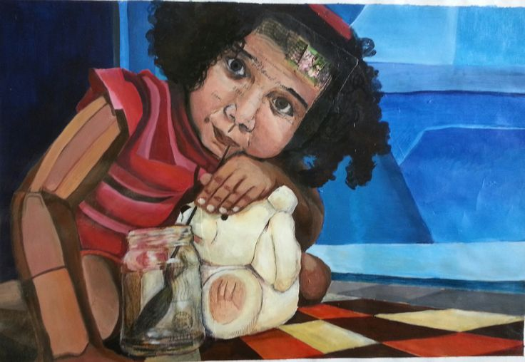 This is Anoof's final piece. he has merged some of Mark powells techniques by adding paper segments to the base that had stamps and stamp marks. He used colour pencil and acrylic washes to capture the childs face, jam jar and teddy bear. The background and the childs t shirt and arm were completed using analytical cubism.