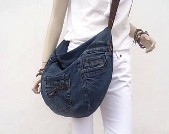 Denim croce corpo slouchy hobo borsa riciclato upcycled denim scuro
