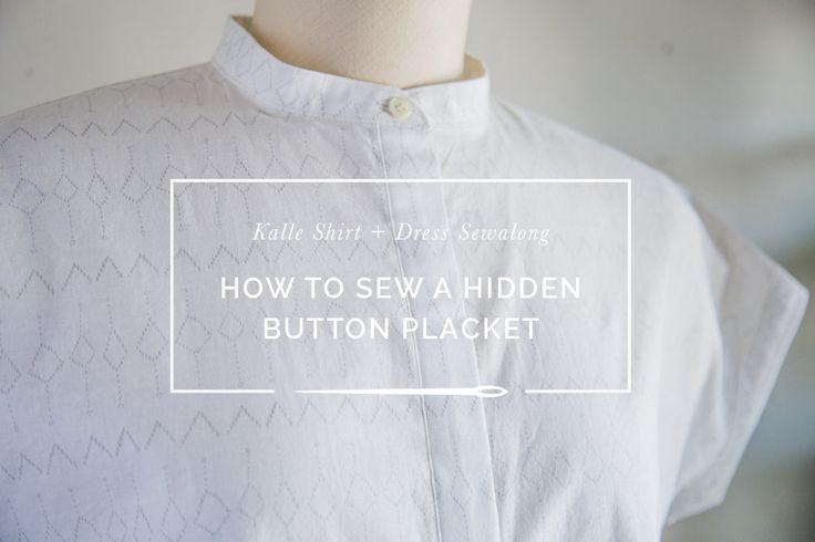 """An easy to understand tutorial to sew an elegant """"hidden button placket"""" on a buttondown shirt."""