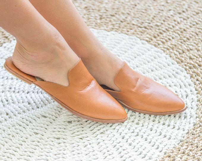 69e26f03d6b64 Womens Leather Mules, Leather Slides, Tan leather Mules, Brown Leather  Sandals, Slip Ons, Leather Flats, Mule Shoe, Pointed Toe Flats