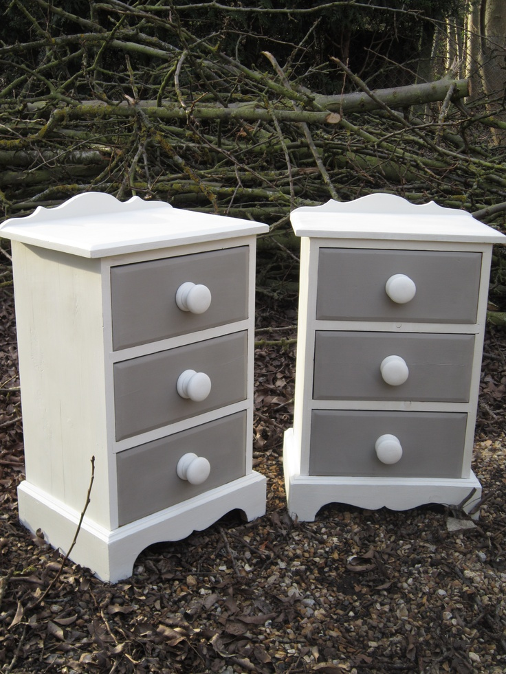 Old white and paris grey twin pine bedside cabinets - White and pine bedroom furniture ...