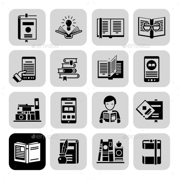Books Icons Black Set (Vector EPS, CS, audio, blank, book, bookmark, bookstore, business, cart, cd, collection, desk, digital, education, icons, internet, lamp, learning, library, literature, magazine, multimedia, pad, pictogram, publication, reader, reading, set, shelf, sign, smart, textbook)