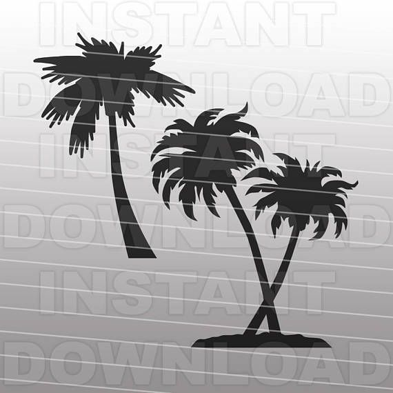 Palm Trees SVG File Cutting Template - Clip Art for Commercial and Personal Use - vector art file for Cricut, SCAL, Cameo, Sizzix, Pazzles