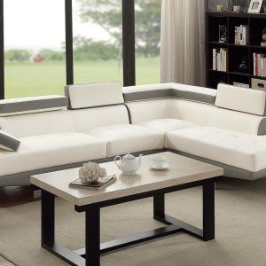Dove Grey Leather Sectional Sofa
