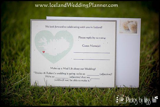 Iceland Destination Wedding Invitation RSVP Card Unique Mad Lib Reply Card Iceland Wedding Planner