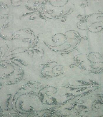 Glitterbug Special Occasion Fabric - Princess Scroll Sheer Teal