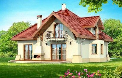 Проект дома с мансардой и гаражом R1528 Вид1