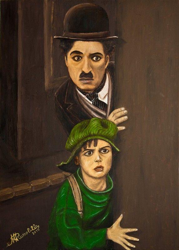 "Charlie Chaplin 2 in ""The Kid""  -  Olio su tela 50 x 70 cm anno 2010"