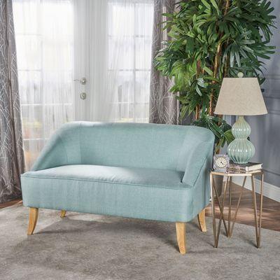Mid Century Modern Light Blue Fabric Loveseat   – Condo Lobby Ideas
