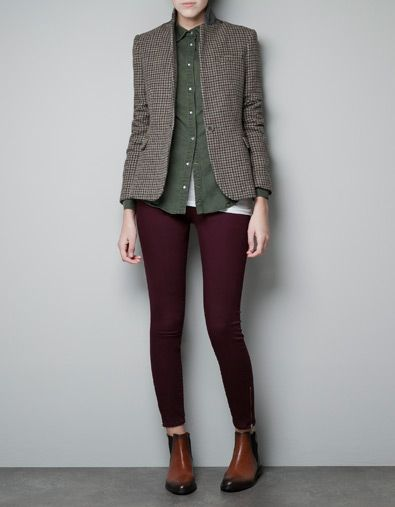 need this. HOUND'S TOOTH BLAZER WITH ELBOW PATCHES - Woman - New this week - ZARA