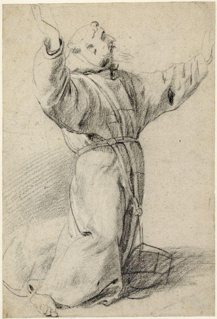 Св.Франциск в экстазе (1592-1640) (421 х 286) (Лондон, Британский музей) (чёрный мел).  Peter Paul Rubens