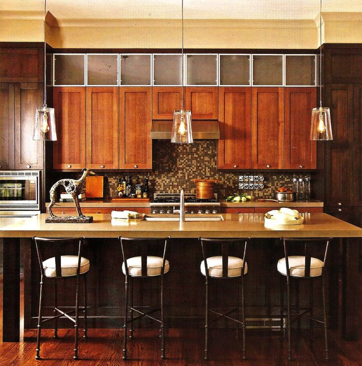 Vintage Wooden Cabinet And Laminate Kitchen Island Mixed With Glass Pendant Lamps Dark Barstools Beautifying Your Room Light Fixture