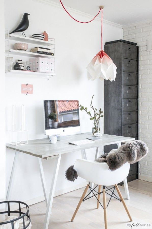 ♥ ♥ ♥ love the furry little throw for some texture and the tall file cabinet practical yet attractive