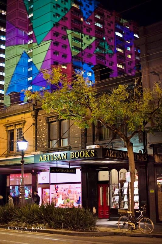 This is taken in Gertrude St, Fitzroy, Melbourne during the projection festival that happens each year in July.